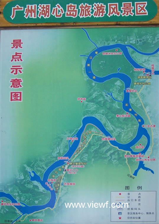 增城湖心岛旅游风景区景点示意图